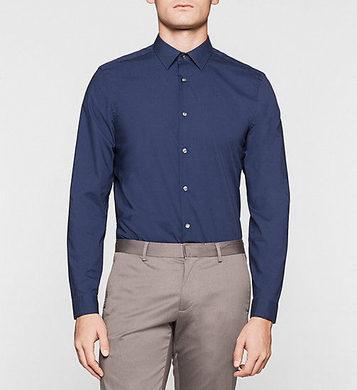 Fitted Cotton Stretch Shirt - INK BLUE - CALVIN KLEIN SHIRTS - main image