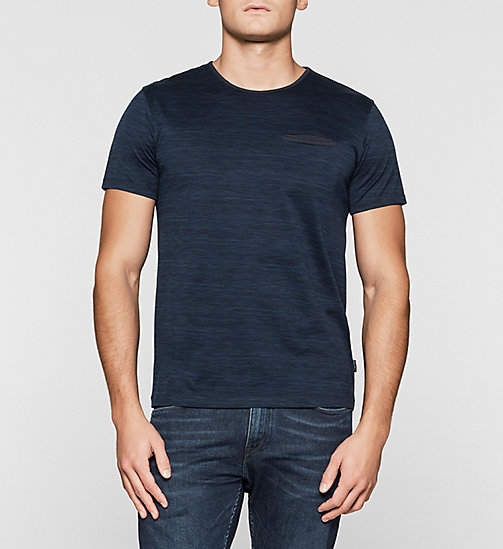 Fitted Heathered T-shirt - DEEP TEAL - CALVIN KLEIN T-SHIRTS - main image