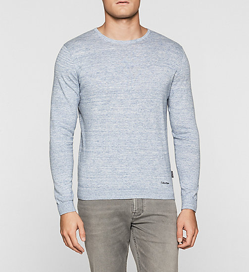 CKJEANS Heathered Knit Sweater - COBALT HEATHER - CALVIN KLEIN JUMPERS - main image