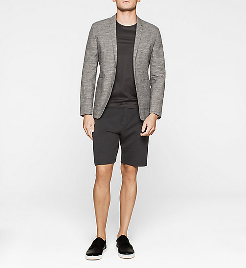 Fitted Cotton Linen Blend Blazer - PERFECT BLACK - CALVIN KLEIN BLAZERS - detail image 1