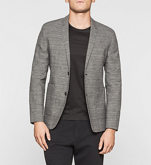Fitted Cotton Linen Blend Blazer - PERFECT BLACK - CALVIN KLEIN BLAZERS - main image