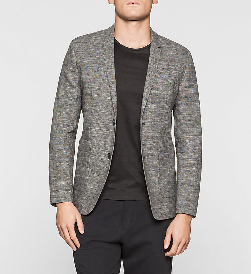 CALVINKLEIN Fitted Cotton Linen Blend Blazer - PERFECT BLACK - CALVIN KLEIN CLOTHES - main image