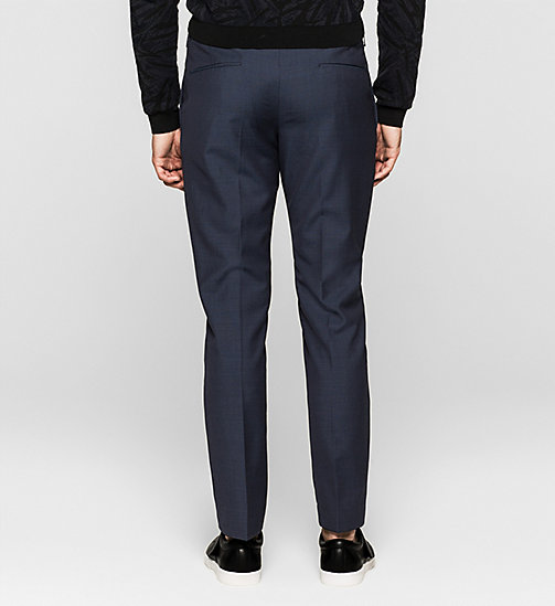 Fitted Textured Wool Trousers - INK BLUE 19-3933 - CALVIN KLEIN SUITS - detail image 1