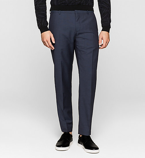 CALVINKLEIN Fitted Textured Wool Trousers - INK BLUE 19-3933 - CALVIN KLEIN TROUSERS & SHORTS - main image