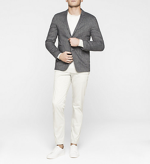 Fitted Linen Wool Blend Blazer - TRUE NAVY - CALVIN KLEIN BLAZERS - detail image 1