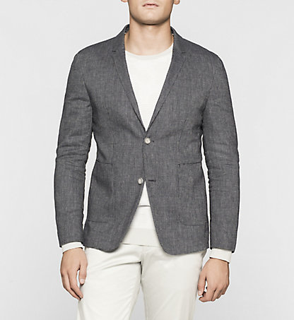CALVIN KLEIN Fitted Linen Wool Blend Blazer K10K100785478