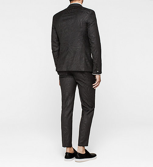 Fitted Wool Silk Jacquard Suit - PERFECT BLACK - CALVIN KLEIN  - detail image 1