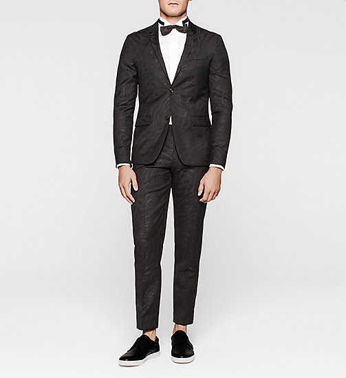 Fitted Wool Silk Jacquard Suit - PERFECT BLACK - CALVIN KLEIN SUITS - main image