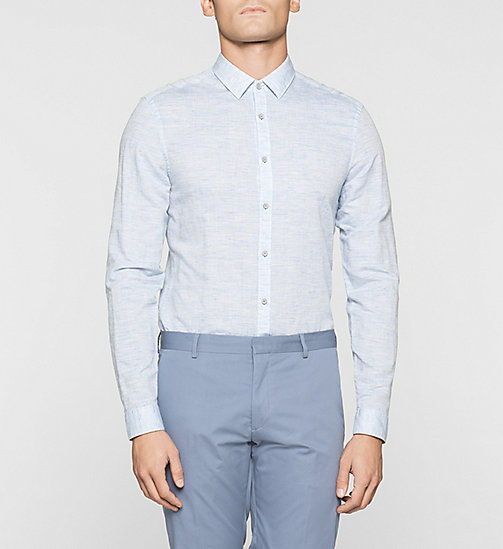 Fitted Linen Cotton Blend Shirt - MODERN BLUE - CALVIN KLEIN SHIRTS - main image