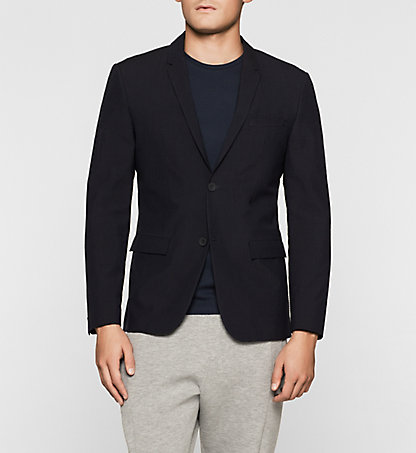 CALVIN KLEIN Fitted Wool Blend Seersucker Blazer K10K100793478