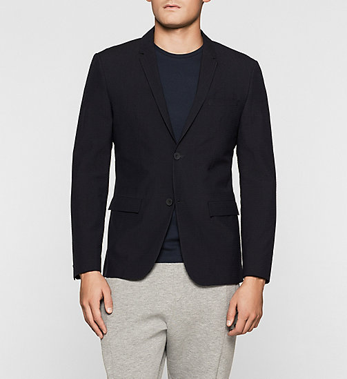 Fitted Wool Blend Seersucker Blazer - TRUE NAVY - CALVIN KLEIN  - main image