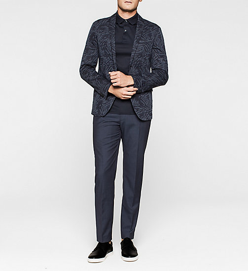 Fitted Linen Cotton Printed Blazer - TRUE NAVY - CALVIN KLEIN BLAZERS - detail image 1
