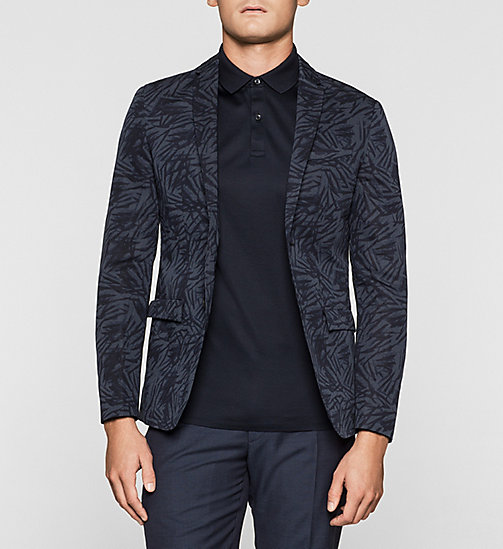 Fitted Linen Cotton Printed Blazer - TRUE NAVY - CALVIN KLEIN BLAZERS - main image