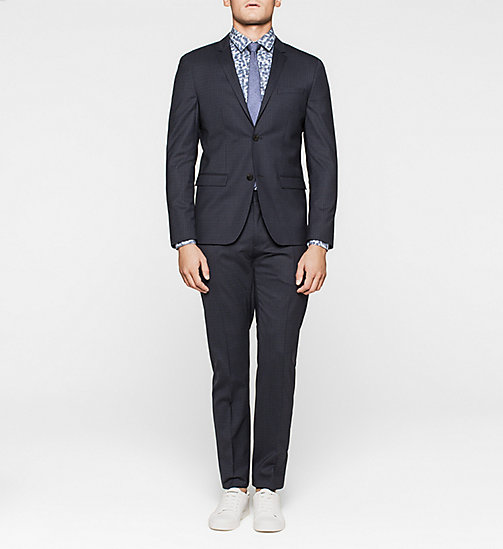 CALVINKLEIN Slim Wool Check Suit - INK BLUE 19-3933 - CALVIN KLEIN SUITS - main image