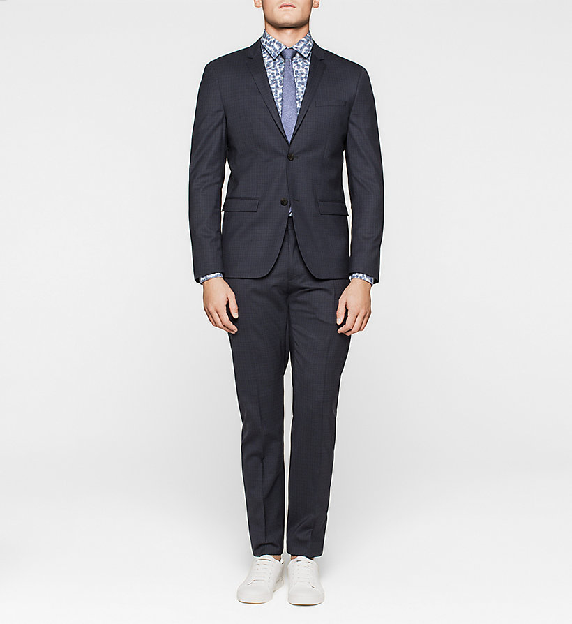 CALVINKLEIN Slim Wool Check Suit - INK BLUE 19-3933 - CALVIN KLEIN CLOTHES - main image