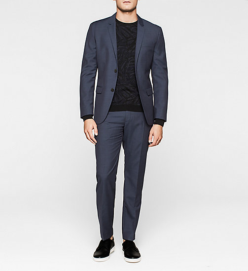 Fitted Textured Wool Blazer - INK BLUE 19-3933 - CALVIN KLEIN  - detail image 1