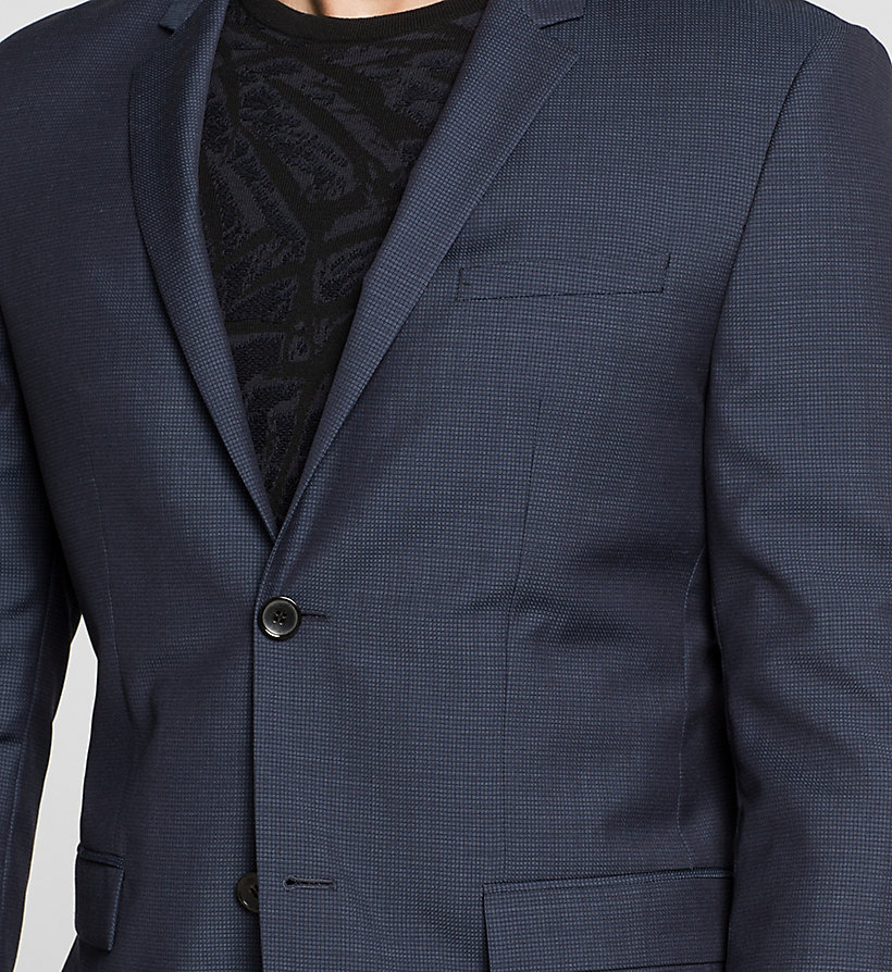 CALVINKLEIN Fitted Textured Wool Blazer - INK BLUE 19-3933 - CALVIN KLEIN SUITS - detail image 2