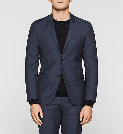 Fitted Textured Wool Blazer - INK BLUE 19-3933 - CALVIN KLEIN SUITS - main image