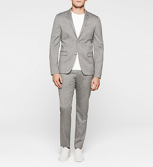 Slim Textured Wool Suit - MID GREY - CALVIN KLEIN SUITS - main image