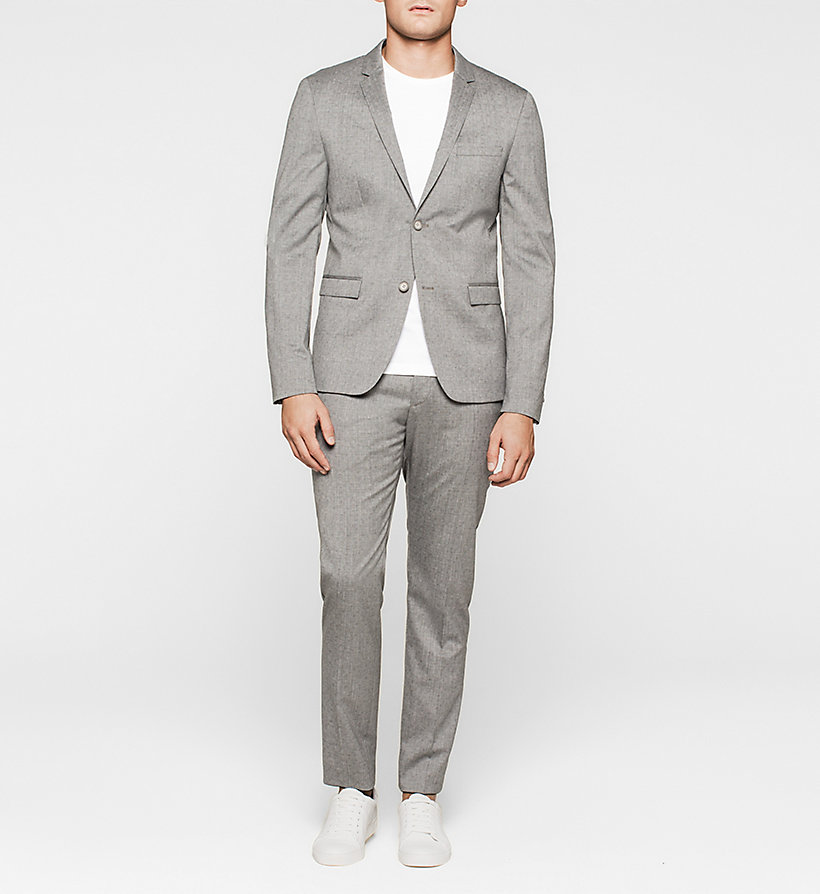 CALVINKLEIN Slim Textured Wool Suit - MID GREY - CALVIN KLEIN CLOTHES - main image