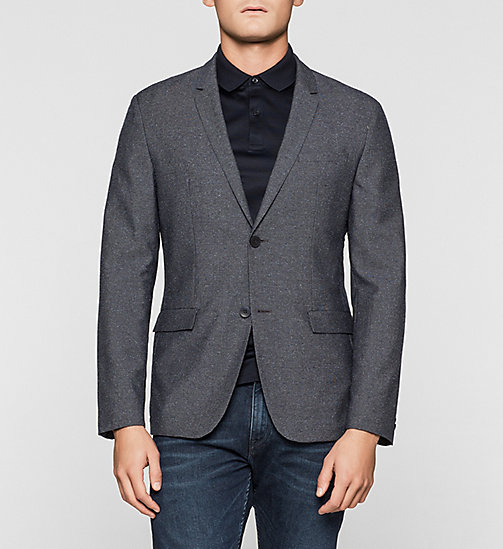 Fitted Wool Blend Blazer - TRUE NAVY - CALVIN KLEIN BLAZERS - main image