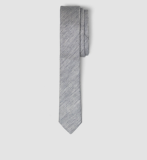 CALVINKLEIN Extra Slim Linen Silk Tie - MEDIUM GREY - CALVIN KLEIN VIP SALE MEN - main image