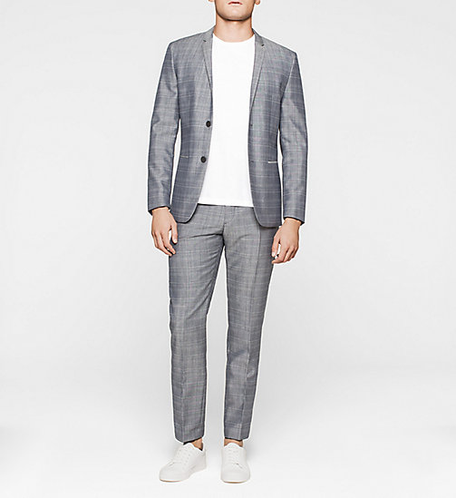 Fitted Mohair Wool Suit - CASUAL BLUE - CALVIN KLEIN SUITS - main image