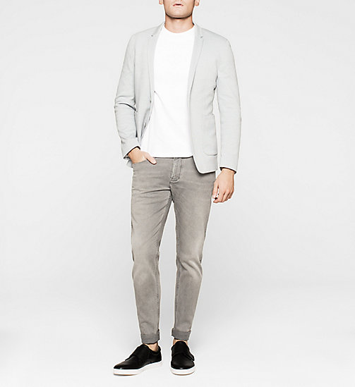 Fitted Cotton Piqué Blazer - MEDIUM GREY - CALVIN KLEIN BLAZERS - detail image 1