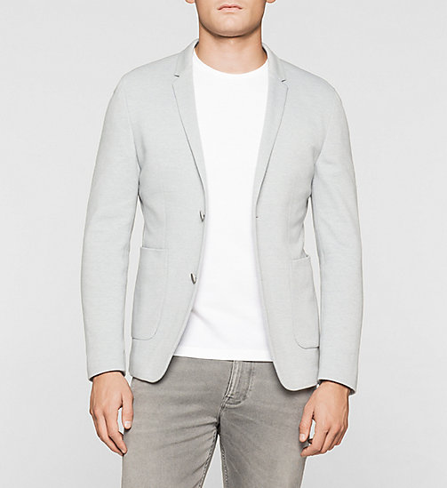 Fitted Cotton Piqué Blazer - MEDIUM GREY - CALVIN KLEIN BLAZERS - main image