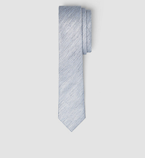 Slim Linen Silk Tie - CASUAL BLUE - CALVIN KLEIN SHOES & ACCESSORIES - main image