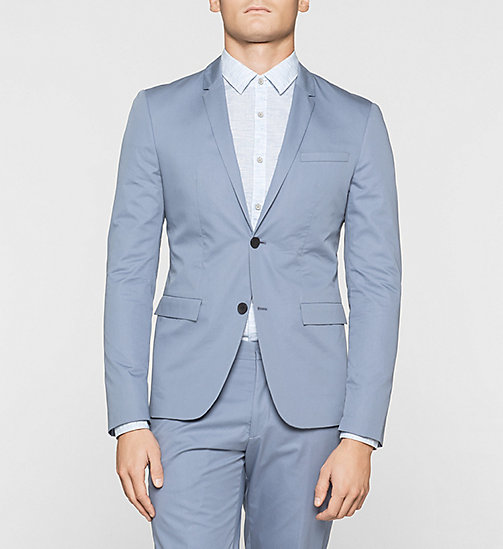 Fitted Cotton Twill Blazer - LIGHT VIOLET - CALVIN KLEIN  - main image