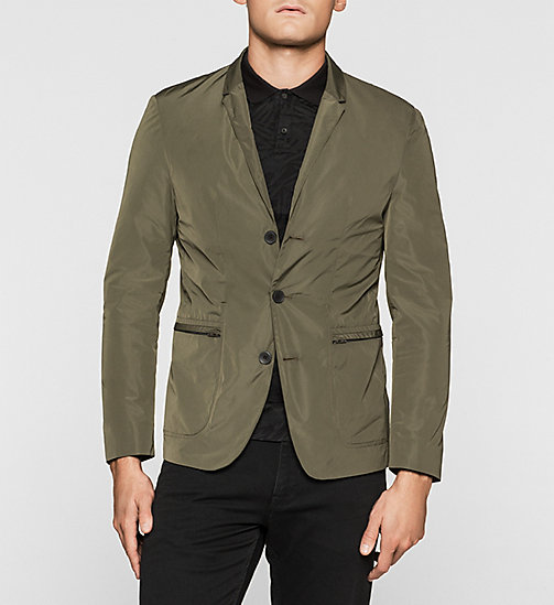 Fitted Ottoman Blazer - DARK OLIVE - CALVIN KLEIN CLOTHES - main image