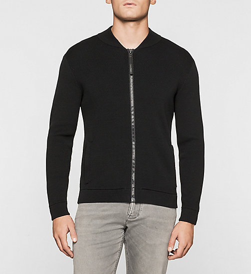 CALVINKLEIN Mesh Baseball Jacket - PERFECT BLACK - CALVIN KLEIN JUMPERS - main image