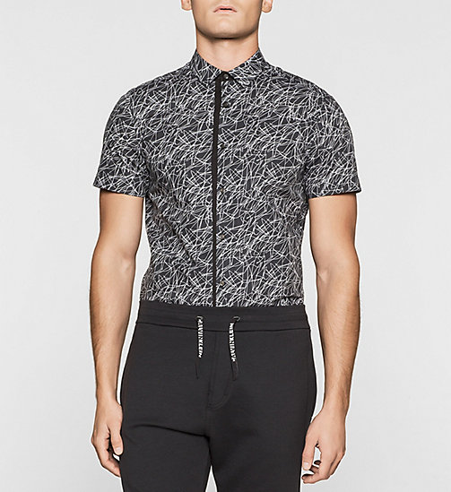 Slim Scribble Print Shirt - PERFECT BLACK - CALVIN KLEIN SHIRTS - main image
