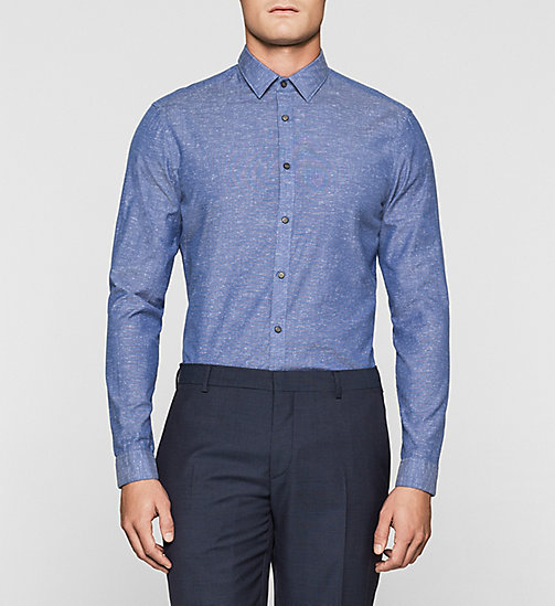 Fitted Cotton Chambray Shirt - COBALT BLUE - CALVIN KLEIN SHIRTS - main image