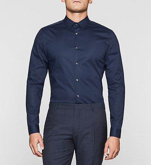 Slim Micro Print Shirt - INK BLUE - CALVIN KLEIN SHIRTS - main image