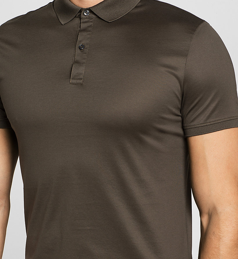 CALVINKLEIN Fitted Polo - BLACK OLIVE - CALVIN KLEIN POLO SHIRTS - detail image 2