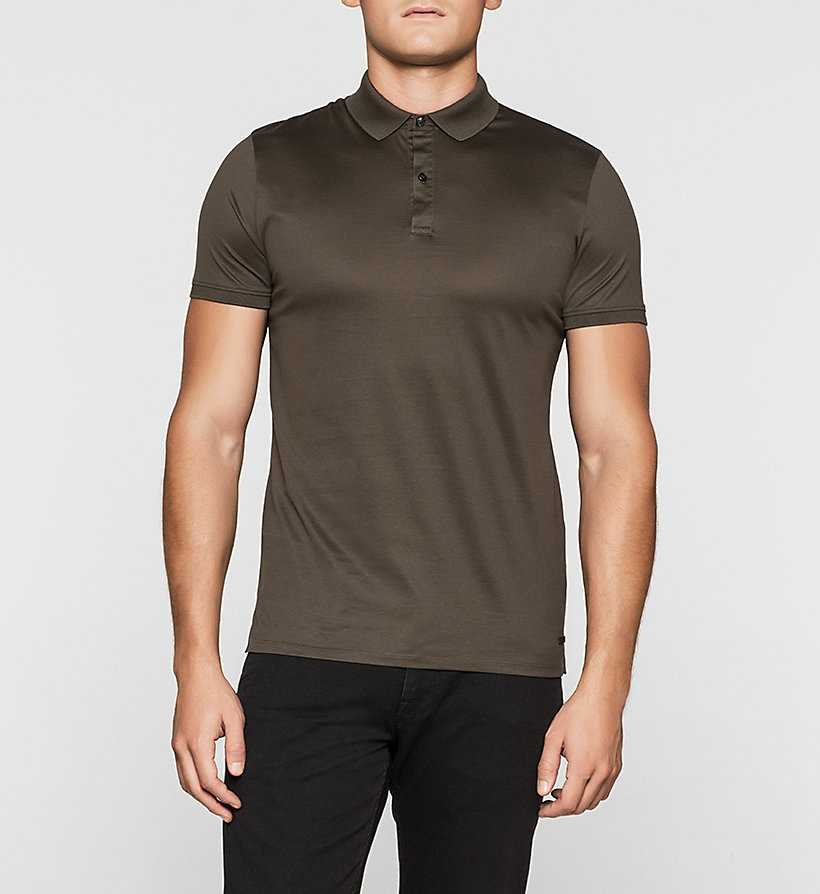 CALVINKLEIN Fitted Polo - BLACK OLIVE - CALVIN KLEIN POLO SHIRTS - main image