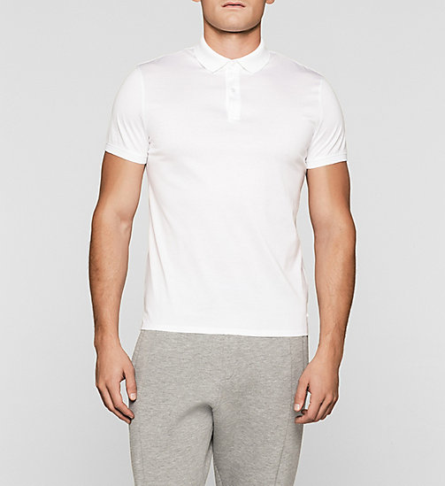 Fitted Polo - PERFECT WHITE - CALVIN KLEIN POLO SHIRTS - main image