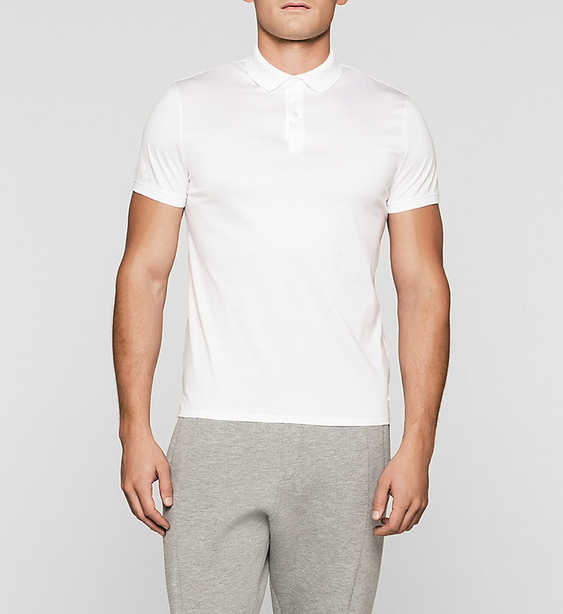 CALVINKLEIN Fitted Polo - PERFECT WHITE - CALVIN KLEIN POLO SHIRTS - main image