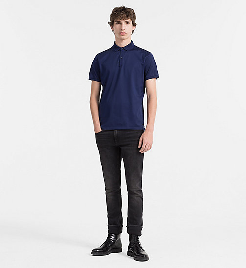 CALVINKLEIN Combed Cotton Polo - INK BLUE 19-3933 - CALVIN KLEIN POLO SHIRTS - detail image 1