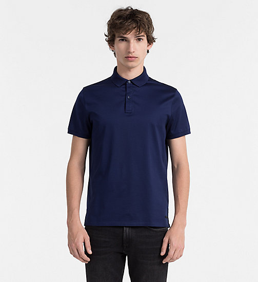 CALVINKLEIN Combed Cotton Polo - INK BLUE 19-3933 - CALVIN KLEIN POLO SHIRTS - main image