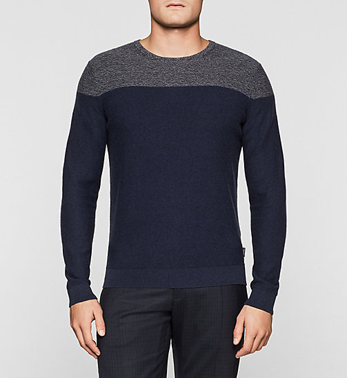 Colour Block Sweater - TRUE NAVY - CALVIN KLEIN JUMPERS - main image