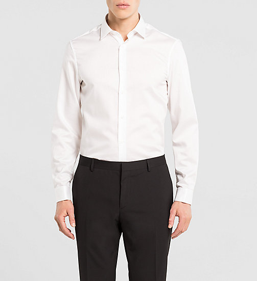 Fitted Double Cuff Shirt - PERFECT WHITE - CALVIN KLEIN  - main image
