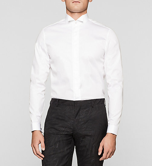 Fitted Double Cuff Shirt - PERFECT WHITE - CALVIN KLEIN SHIRTS - main image
