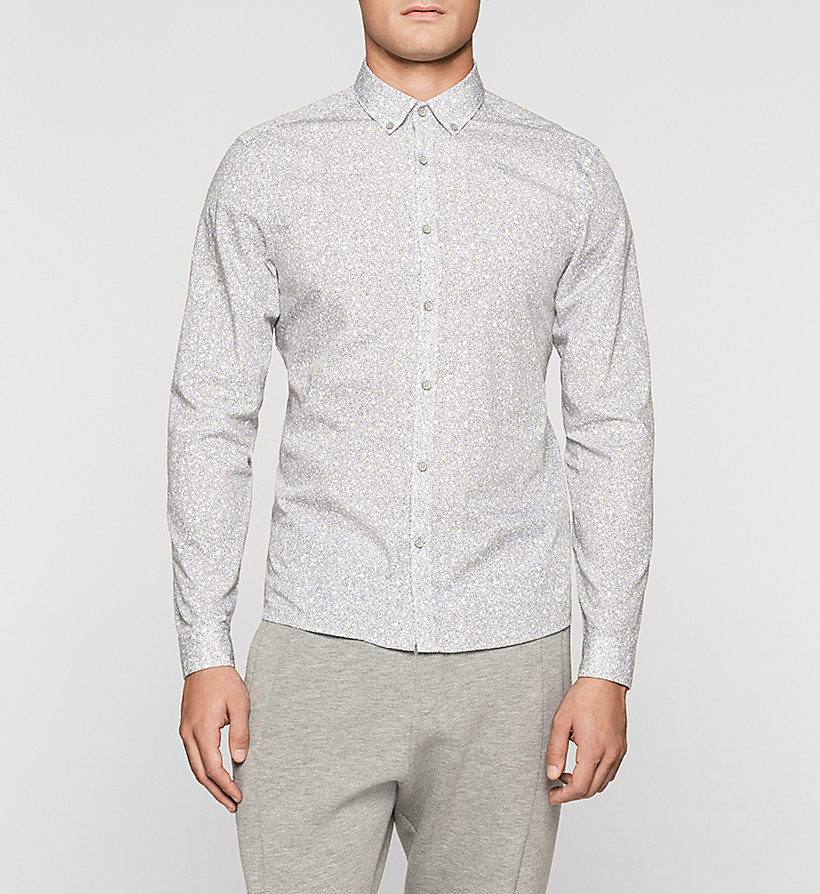 CALVINKLEIN Fitted Printed Shirt - DARK OLIVE - CALVIN KLEIN CLOTHES - main image