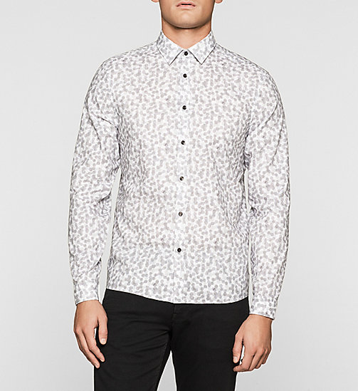 Fitted Cellular Print Shirt - MEDIUM GREY - CALVIN KLEIN  - main image