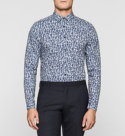 CALVIN KLEIN Fitted Cellular Print Shirt K10K100963407