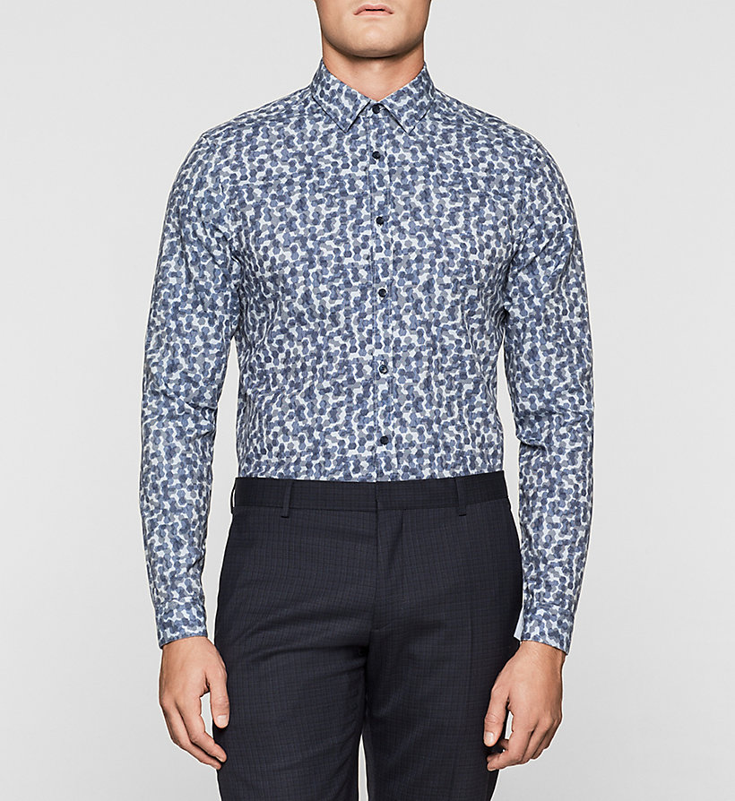 CALVINKLEIN Fitted Cellular Print Shirt - INK BLUE - CALVIN KLEIN SHIRTS - main image