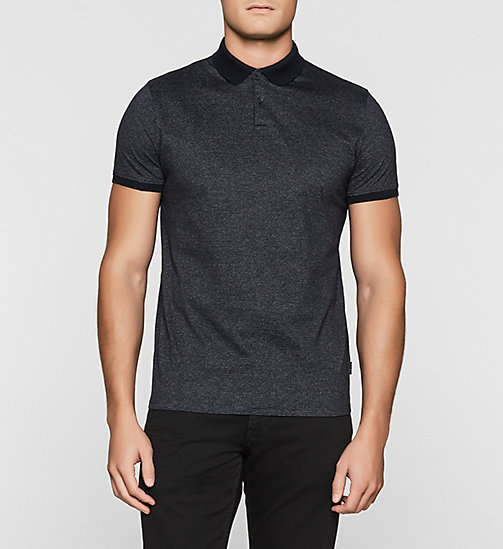 CALVINKLEIN Fitted Jacquard Polo - TRUE NAVY - CALVIN KLEIN  - main image